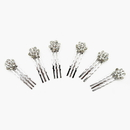 Elegance by Carbonneau Pin-1300-AS-Clear Rhodium Silver Crystal Cluster Vintage Hair Pin 1300 (Sold As Set Of 6)