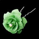 Elegance by Carbonneau Pin-900-LtGreen Lt Green Glitter Crystal Bridal Hair Pin 900