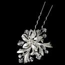 Elegance by Carbonneau Pin-966-S-Clear Silver Clear Swarovski Crystal Bead & Rhinestone Floral Hair Pin 966