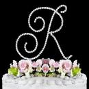 Elegance by Carbonneau R-Renaissance-Silver Renaissance ~ Swarovski Crystal Wedding Cake Topper ~ Silver Letter R