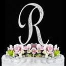 Elegance by Carbonneau R-Sparkle-Silver Sparkle ~ Swarovski Crystal Wedding Cake Topper ~ Silver Letter R
