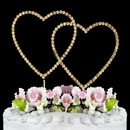 Elegance by Carbonneau Renaissance-Double-Heart-Gold Renaissance ~ Swarovski Crystal Wedding Cake Topper ~ Double Gold Heart