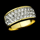 Elegance by Carbonneau Ring-0033 Exquisite Gold Clear Pave Crystal Band Ring 0033