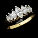 Elegance by Carbonneau Ring-0366-Gold Classy Gold Clear Marquise CZ Ring 0366