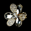 Elegance by Carbonneau Ring-1001-Gold-Clear Lovely Gold Clear Flower Ring 1001