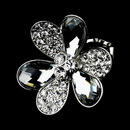 Elegance by Carbonneau Ring-1001-Silver-Clear Lovely Silver Clear flower Ring 1001