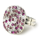 Elegance by Carbonneau Ring-19-Fuchsia Red Circular Fuchsia and Clear Rhinestone Ring 19