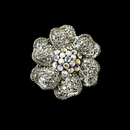 Elegance by Carbonneau Ring-21 Captivating Silver Clear & AB Rhinestone Flower Stretch Ring 21