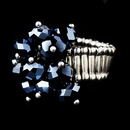 Elegance by Carbonneau Ring-473-Navy Silver Stretch Ring with Montana Blue AB Crystals 473