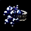 Elegance by Carbonneau Ring-473-Sapphire Silver Stretch Ring with Sapphire Aurora Borealis Crystals 473