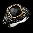 Elegance by Carbonneau Ring-5635-Black Fabulous Designer Inspired Silver Black CZ Ring 5635