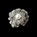 Elegance by Carbonneau Ring-7 Gorgeous Silver Clear Rhinestone & White Faux Pearl Stretch Ring 7