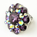 Elegance by Carbonneau Ring-9-S-Amethyst-AB Silver Amethyst & AB Crystal Flower Bridal Ring 9