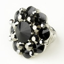 Elegance by Carbonneau Ring-9-S-Smoked Silver Smoked & Black Crystal Flower Bridal Ring 9