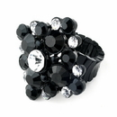 Elegance by Carbonneau Ring-950-Black Jet Black & Clear Crystal Stretch Ring 950