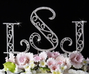 Elegance by Carbonneau Roman-Cake-Monogram Roman Crystal Monogram Wedding Cake Top