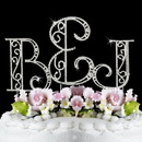 Elegance by Carbonneau Roman-Letters-and-Ampersand Roman Swarovski Crystal Initials and Ampersand Wedding Cake Top Set