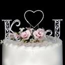 Elegance by Carbonneau Roman-Letters-and-Renaissance-Heart Roman Swarovski Crystal Initials & Heart Wedding Cake Topper Set