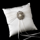 Elegance by Carbonneau RP-11-Brooch-28-A-Clear Ring Pillow 11 with Antique Silver Clear Rhinestone & Oval Pearl Brooch 28