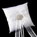 Elegance by Carbonneau RP-90-Brooch-3172-S-Clear Ring Pillow 90 with Vintage Oval Rhinestone Brooch 3172