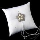 Elegance by Carbonneau RP-92-Brooch-117-A-Pearl Ring Pillow 92 with Antique Silver Floral Star Pearl Brooch 117