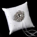 Elegance by Carbonneau RP-92-Brooch-129-S-Clear Ring Pillow 92 with Silver Clear Crystal Leaf Brooch 129