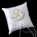Elegance by Carbonneau RP-92-Brooch-41-S-Ivory Ring Pillow 92 with Silver Ivory Beaded Flower Pearl Brooch 41