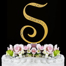 Elegance by Carbonneau S-Sparkle-Gold Sparkle ~ Swarovski Crystal Wedding Cake Topper ~ Gold Letter S