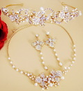 Elegance by Carbonneau Set-HP7803-NE7803-G Gold Couture Bridal Necklace & Earring with Coordinating Headpiece Set NE 7803 & HP 7803 (Gold or Silver)