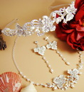 Elegance by Carbonneau Set-HP7803-NE7803 Couture Crystal & Pearl Jewelry & Tiara Set NE 7803 & HP 7803 (Silver or Gold)