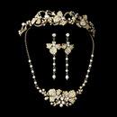 Elegance by Carbonneau Set-NE7803-HP7803-G Freshwater Pearl & Crystal Gold Bridal Jewelry & Tiara Set