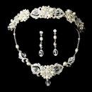 Elegance by Carbonneau Set-NE7804-HP7844 Swarovski Crystal & Freshwater Pearl Bridal Jewelry & Tiara Set (Silver or Gold)