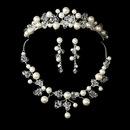 Elegance by Carbonneau Set-NE8135-HP8135 Pearl & Swarovski Crystal Bridal Jewelry & Tiara Set 8135