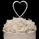 Elegance by Carbonneau Single-Large-Heart-Sparkle-Silver Sparkle ~ Swarovski Crystal Wedding Cake Topper ~ Single Large Silver Heart