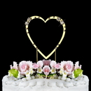 Elegance by Carbonneau Single-Small-Heart-French-Gold French Flower ~ Swarovski Crystal Wedding Cake Topper ~ Single Small Gold Heart