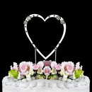 Elegance by Carbonneau Single-Small-Heart-French-Silver French Flower ~ Swarovski Crystal Wedding Cake Topper ~ Single Small Silver Heart
