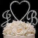 Elegance by Carbonneau SingleVintageHeart-2VintageLetters Vintage Swarovski Crystal Monogram Heart Wedding Cake Topper Set