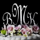 Elegance by Carbonneau Sparkle-Monogram-Cake-Set Sparkle ~ Crystal Accented Monogram Wedding Cake Topper Set