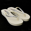 Elegance by Carbonneau Sunshine-Ivory * Sunshine ~ Low Heel Ivory Wedge Flip Flops with Crystal Straps