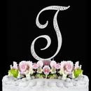 Elegance by Carbonneau T-Sparkle-Silver Sparkle ~ Swarovski Crystal Wedding Cake Topper ~ Silver Letter T