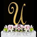 Elegance by Carbonneau U-Sparkle-Gold Sparkle ~ Swarovski Crystal Wedding Cake Topper ~ Gold Letter U