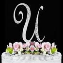 Elegance by Carbonneau U-Sparkle-Silver Sparkle ~ Swarovski Crystal Wedding Cake Topper ~ Silver Letter U