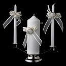 Elegance by Carbonneau UC-796-Rum Organza Bow & Rose Unity Candle Set 796