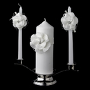 Elegance by Carbonneau UC-804-IV Ivory Flower Unity Candle Set 804