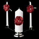 Elegance by Carbonneau UC-804-Red Red Flower Unity Candle Set 804
