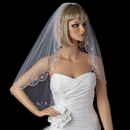 Elegance by Carbonneau V-101-1E Single Layer Elbow Length Veil with Scalloped Pencil Edge in White or Ivory 101
