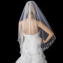 Elegance by Carbonneau V-101-1F-SILVER Bridal Wedding Single Layer Fingertip Scalloped Embroidered Edge Veil 101 1F