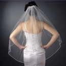 Elegance by Carbonneau V-1040-1F Single Layer Fingertip Length Bridal Veil with Silver Sequin & Bugle Bead Edge V 1040 1F