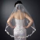 Elegance by Carbonneau V-1042-1F Single Layer Fingertip Length Bridal Veil Embroidered Floral Flowers Leaves with Pearls V 1042 1F
