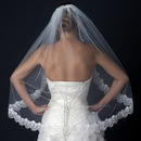 Elegance by Carbonneau V-1129-1F Single Layer Fingertip Length Lace Scalloped Edge Veil with Floral Embroidery V 1129 1F